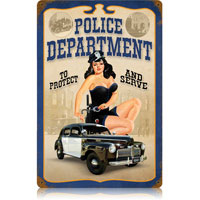 Police Department Pin Up Tin Sign