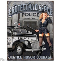 Police Department Tin Sign Pin Up Girl Protect and Serve