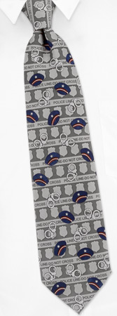 Law Enforcement Tie by Fun Ties -  Silver Polyester